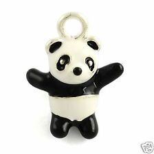 1 x Panda Silver Plated  Enamel Pendant Charms