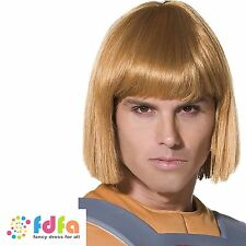 BLONDE HE MAN MASTERS OF THE UNIVERSE WIG mens fancy dress costume accessory