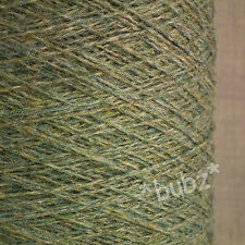PURE SHETLAND WOOL SAGE 500g CONE 10 BALL 3 4 PLY KNIT WEAVE YARN GREEN MELANGE