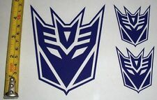Transformers - Decepticon Set of 3 HQ Single Color Purple Vinyl Sticker Decal