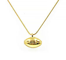 """Football Pendant Necklace with 22"""" Chain - Gold Plate"""