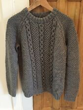 100% Irish Handmade Wool Fishermans Jumper Sweater - Medium