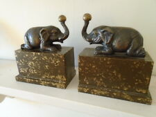 30s ART DECO VINTAGE ELEPHANT BOOKENDS MANTLE PIECES BRONZE BRASS