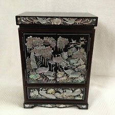 Mother-of-Pearl Inlaid Lacquer Wood Keepsake Jewelry Trinket Decorative Chest