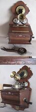 ANTIQUE GERMAN WALL TELEPHONE PHONE GROOS & GRAF BERLIN / WOODEN BOX / 1900
