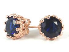 Women's 18 Carat Rose Gold Plated Blue Cubic Zircon Stud Earrings Jewellery