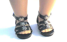 """Doll Clothes AG 18"""" Sandals Black Shoes Ankle Strap Made For American Girl Dolls"""