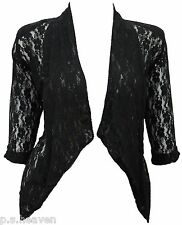 NEW DRESSY SHRUG TOP BOLERO - BLACK WHITE - SIZE 16 - 26 LADIES LACE JACKET