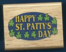 HAPPY ST PATTY'S DAY CLOVER card word CANADIAN MAPLE COLLECTION NEW RUBBER STAMP