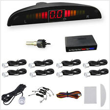 Silver 8 Parking Sensors LED Display Car Front/Rear Reverse Backup Kit System
