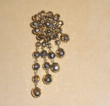 Very Beautiful & Rare Antique Gold Glass Bead Fur Clip w/ Dangles by Depose'