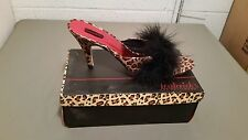 New Frederick's Of Hollywood Satin Leopard Print Marabou Slippers Size 12