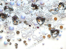CandyCabsUK 25g Mixed Ice White & Silver Wedding Decoden Craft Kit DIY Pearls