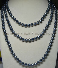 AA+ Hot Long Necktie Necklaces 8mm Black Grey South Sea Shell pearl Strands 60""