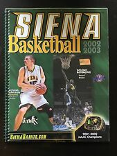 Sienna Saints 2002-2003 Men's Basketball Media Guide Program