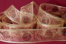 """2 1/2"""" GOLD SHEER WIRED CHRISTMAS RIBBON W/GOREOUS ORNAMENTS, 4 YDS."""