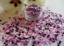 Nail Art Chunky *Candy* Pink White Black Hexagon Glitter Spangle Mix Pot ArtTips