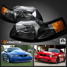 1999-2004 Ford Mustang Crystal Black Headlights Left+Right