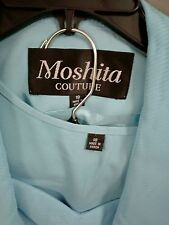 New Moshita Courture 3 Pc Church Suit, Turquoise Jacket, Top &  Skirt Size 18