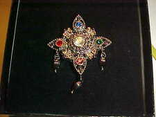 "RETRO VINTAGE ""BOB MACKIE"" RHINESTONE SNOWFLAKE JEWEL BROOCH PIN WITH BOX   J31"