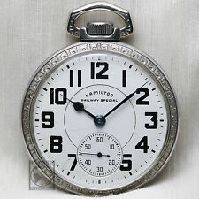 "Hamilton 992B ""RAILWAY SPECIAL"" 21 Jewel WindUp Pocket Watch OF 16s Silver Color"
