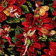 Fat Quarter Holiday Christmas Flower Fairies Cotton Quilting Fabric