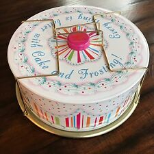 Pretty Pink Vintage Floral Print Cake Carrier Tin Caddy - Take Me Back In Time!