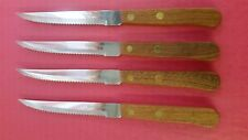 STEAK KNIFE WITH WOOD HANDLE S/S SERRATED EDGE ( FOUR PER PACK ) POINTED TIP