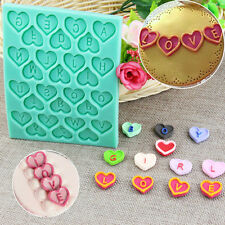 Heart Alphabet Letter Silicone Fondant Mould Cake Decorating Chocolate Mold x1