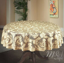 "Round Heavy Lace Tablecloth Cream / Golden beige  59"" 150cm  Premium Quality"