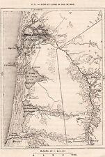 IMAGE 1887 PRINT CARTE MAP DUNE ET LANDE PAYS DE BORN ARCACHON MIMISAN AUDENGE