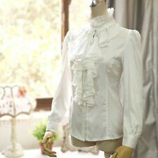 Women Victorian Office Long Sleeve T-Shirt Tops High Neck Ruffle Shirt Blouse S