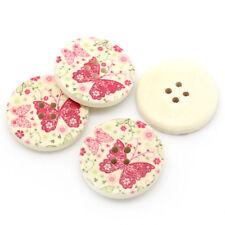 10 pretty pink papillon design en bois peint à coudre artisanat boutons 30mm