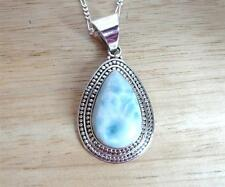 BLUE LARIMAR TEARDROP PENDANT 925 STERLING SILVER NECKLACE 18INS