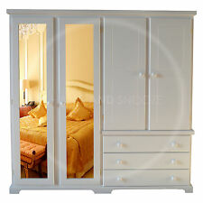 HAND MADE BALTIC 4 DOOR WARDROBE MIRRORED SOLID PINE WHITE (ASSEMBLED)