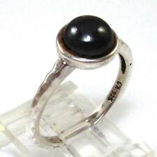 Hammered Sterling Silver Hematite Modernist Circle Solitaire Ring Size 7