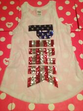 New VICTORIA'S SECRET PINK SLEEVEless Crew TEE TSHIRT Top Xsmall White Usa Bling