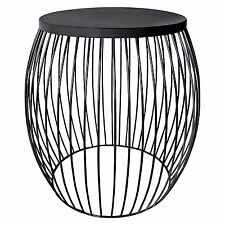 MIAMI Iron Wire Jet Black Monochrome Ebony Drum Stool Side Tables Stand NEW