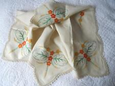 GORGEOUS VINTAGE 1950'S HAND EMBROIDERED LINEN TABLE CLOTH ORANGE YELLOW FLOWERS