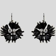Mimco Starlight Flower Drop Ear Earrings Jet Enamel & Crystal RRP $99.95 Black