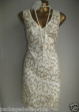 MONSOON IVORY GOLD EMBROIDERED SEQUIN EMBELLISHED 20's GATSBY SHIFT DRESS 16