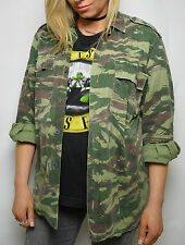 Vintage 90s Distressed Genuine Army Green Camo Military Shirt/Jacket UK Size 10