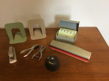 Vintage Industrial Lot Bates Stapler Clix Hole Punch Book Ends File Box Dietzgen