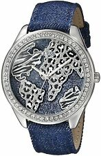 Guess Women's Iconic Blue Denim Leather Silver Tone w/ Wold Map Watch - U0504L1