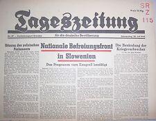 Zeitung 26.7.1945 Tageszeitung deutsche Bevölkerung Befreiungsfront Slowenien