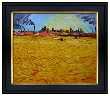 Framed Van Gogh fields Near Arles Repro, Hand Painted Oil Painting 20x24in