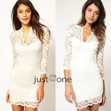 Ladies Sexy Charm Vintage Lace V Neck Cocktail Evening Party Clubwear Slim Dress