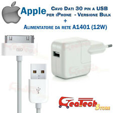 CAVO DATI 30PIN ORIGINALE APPLE Per iPhone 4 4s MA591 + CARICABATTERIA 12W MD836