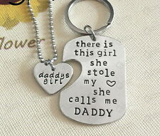 Father Daughter Stole My Heart Calls Me Daddy's Little Girl Necklace Keychain