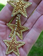 NEW KIRKS FOLLY CHRISTMAS TRIPLE STAR EARRINGS CLIP ON  MORE THEN 300 CRYSTALS